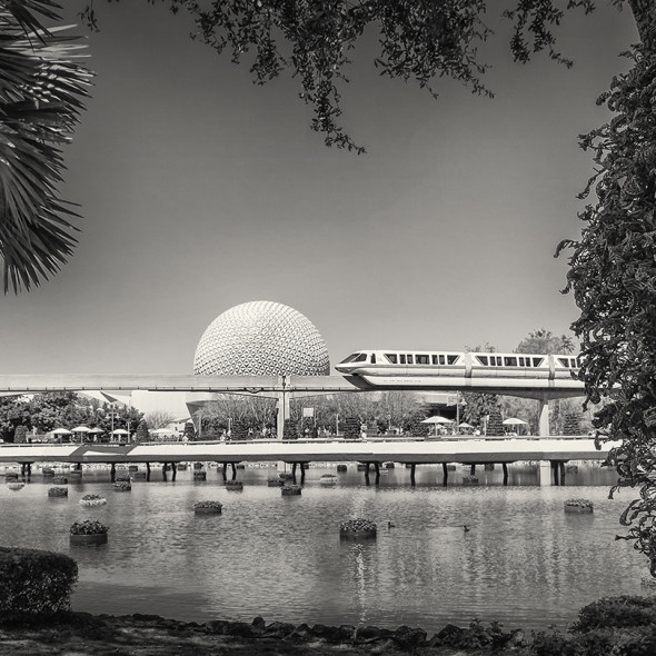 Epcot Monorail in B&W